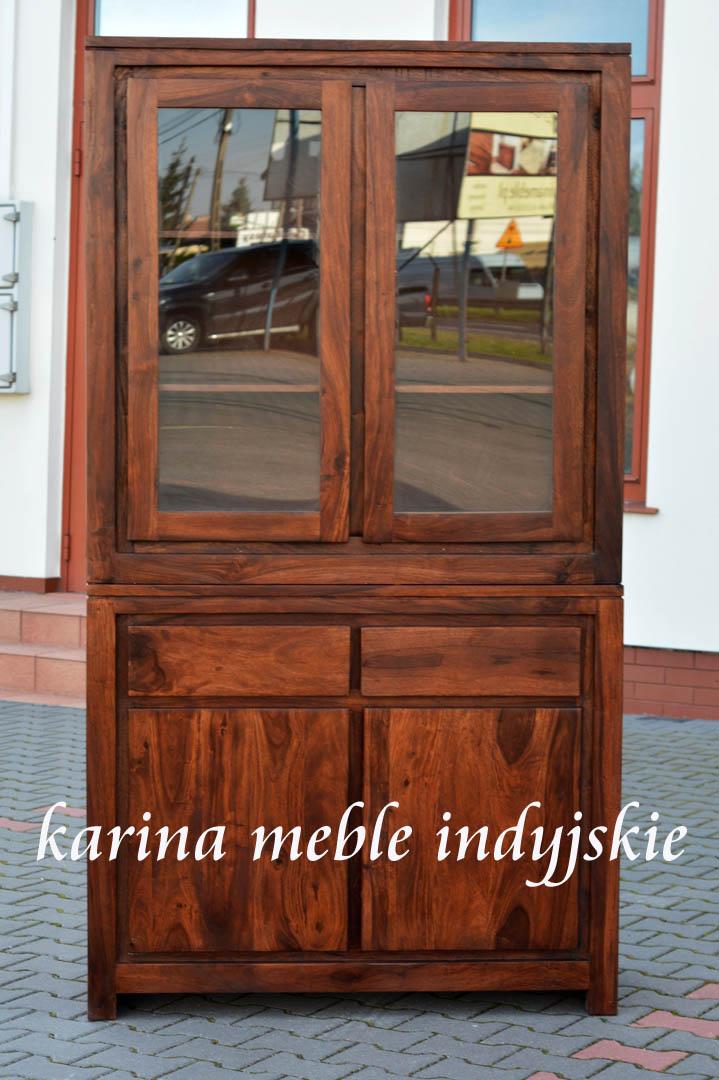 meble kolonialne kredens witryna nacf09106 brown meble
