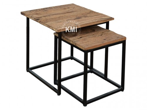 Meble Industrialne Stolik Ze Starego Drewna I Metalu