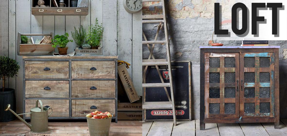 meble loftowe do salony, sypialni i gabinetu zrobione z drewna i metalu