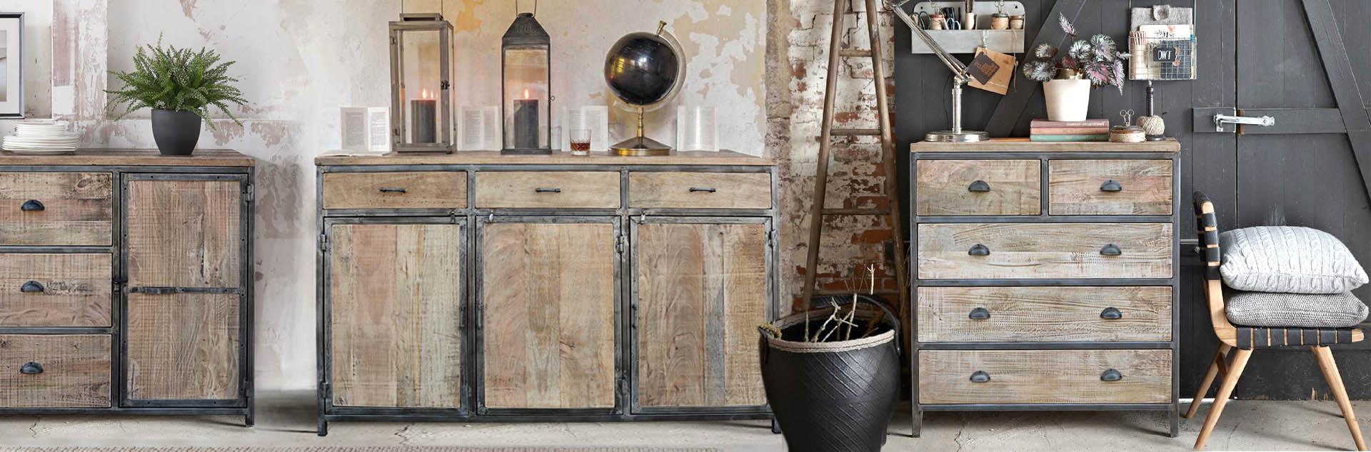meble industrialne loftowe - metalowe i drewniane