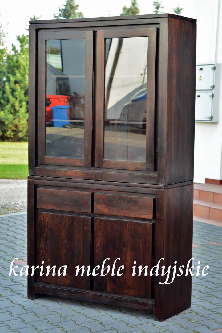 kredens witryna dark brown - meble kolonialne, indyjskie