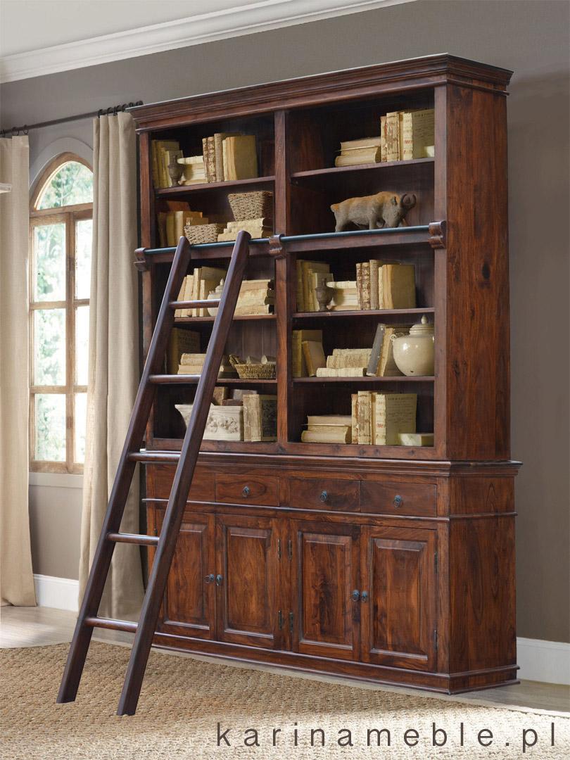 biblioteczka z drabin� quotclassicquot brown meble kolonialne