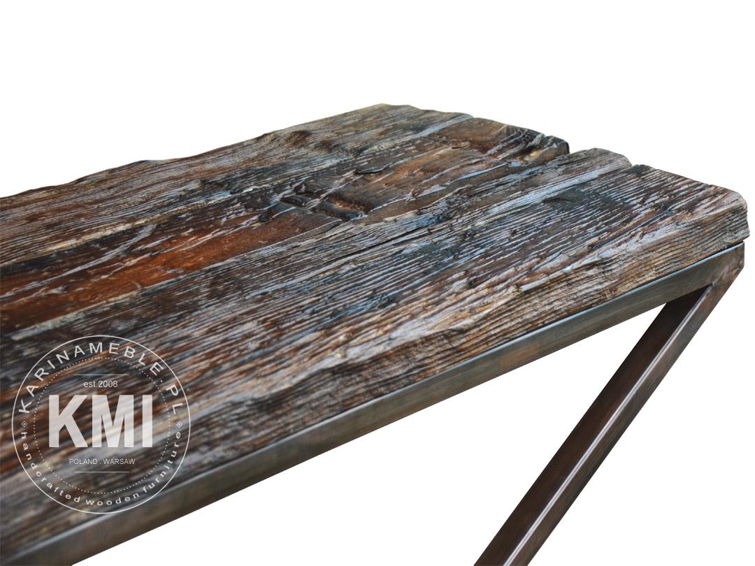 Zaawansowane konsola z metalu i starego drewna - karinameble.pl LR72